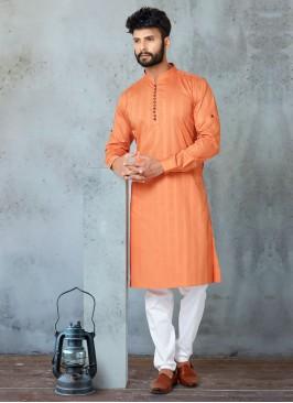 Orange and White Color Kurta Pajama