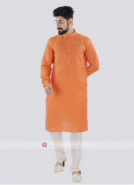 Orange And Off White Linen Kurta Set