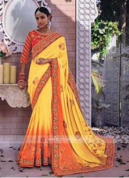 Orange and Yellow Art Silk Shaded Saree