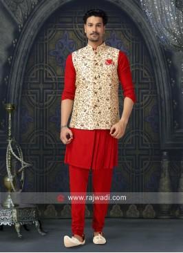 Designer Red and Cream Color Nehru Jacket