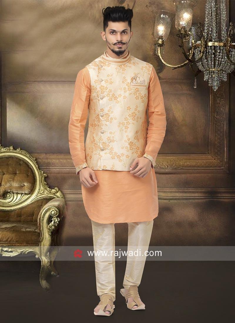 Orange and Cream Color Nehru Jacket