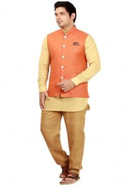 Orange and Yellow coloured Nehru Jacket