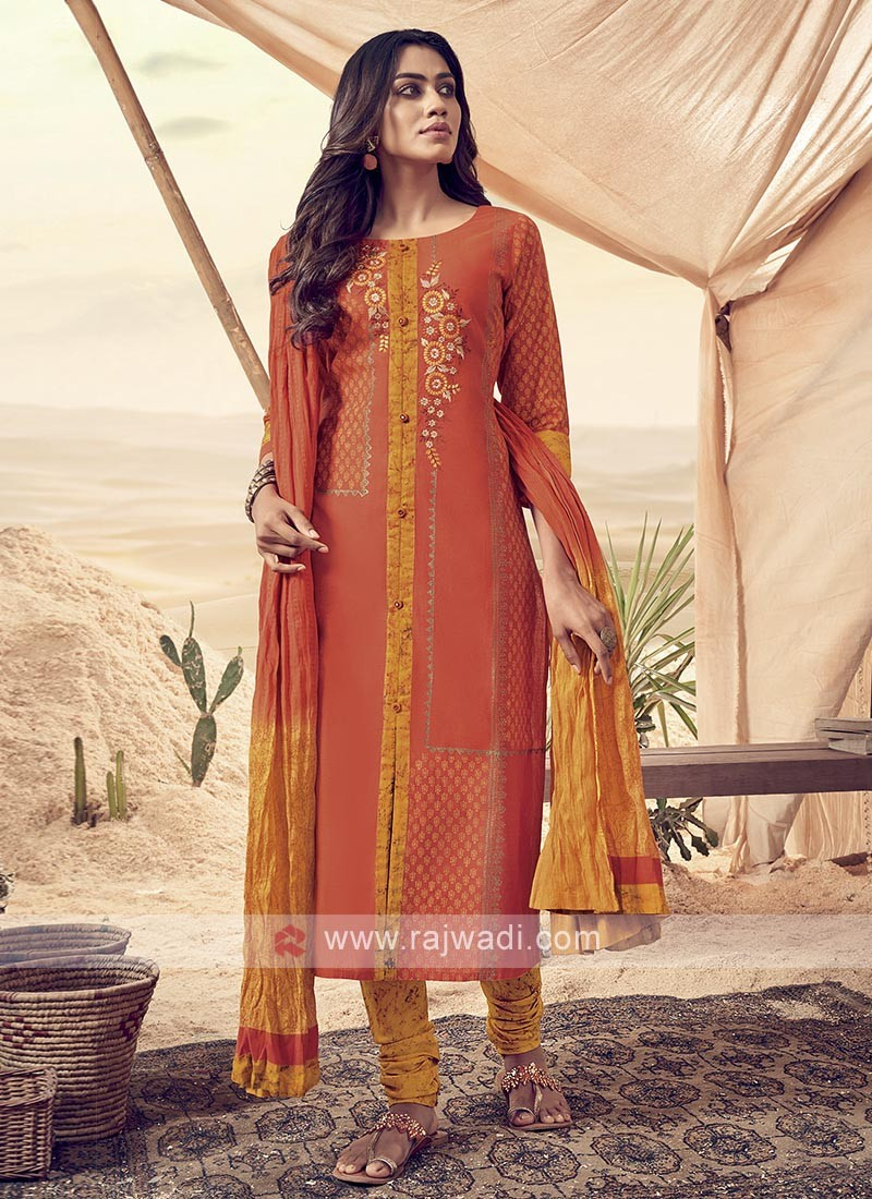 Orange And Yellow Cotton Churidar Suit