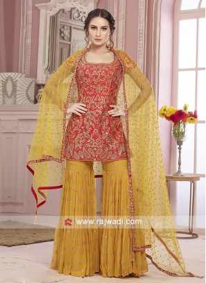 Orange and yellow gharara suit
