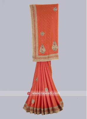 Orange Art Satin Silk Designer Saree