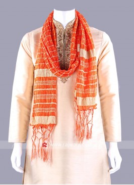 Orange Art Silk Dupatta