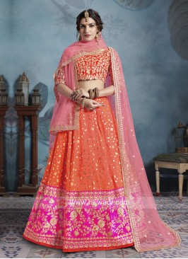 Orange Art Silk Lehenga Choli