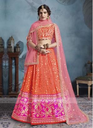 Orange Art Silk Lehenga Choli