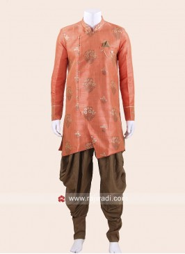 Orange Art Silk Patiala Suit