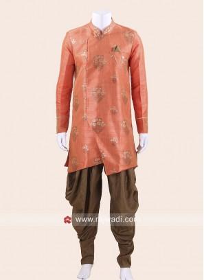 Orange Art Silk Patiala Suit