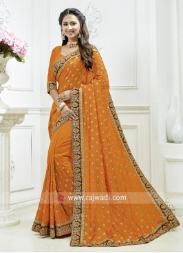 Orange Art Silk Saree with Blouse