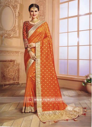 Orange Art Silk Wedding Saree