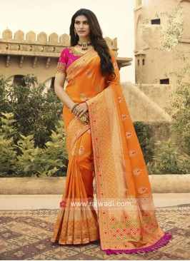 Orange Banarasi Silk Heavy Saree