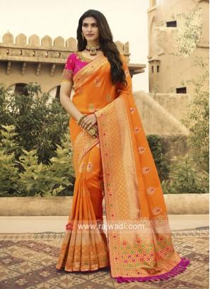 Orange Banarasi Silk Heavy Saree