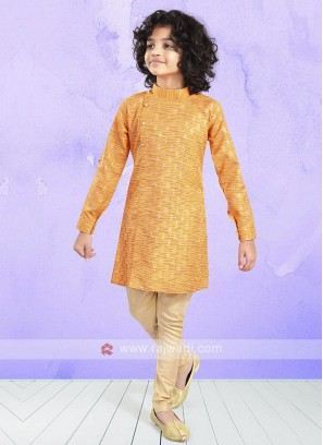 Orange & Beige Color Kurta Pajama For Boys