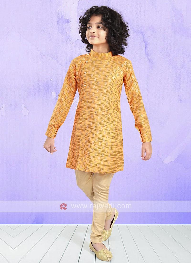 Orange & Beige Color Kurta Pajama For Boys
