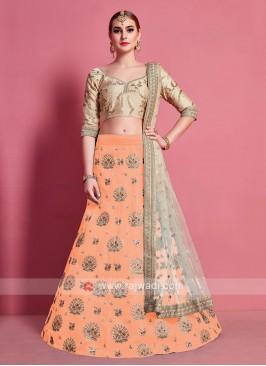 Orange & Beige Color Lehenga Choli