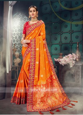 Orange Bhagalpuri Silk Saree