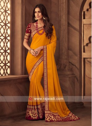 Orange Border Work Saree