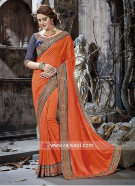 Orange Border Work Saree with Blouse