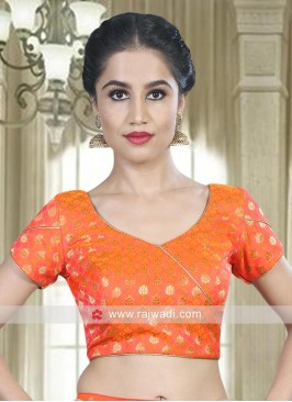 Orange Brocade Readymade Blouse