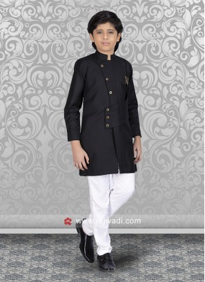 Black Cotton Silk Indo Western