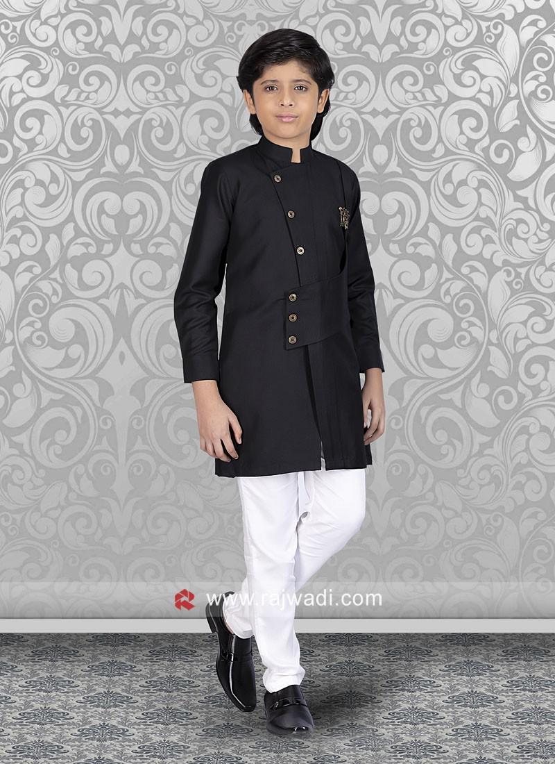 Black Cotton Silk Indo Western