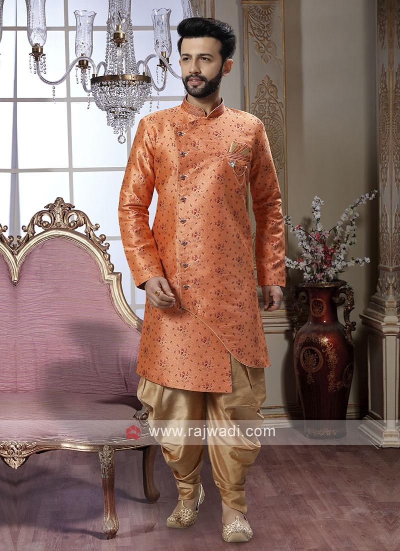 Orange Brocade Silk Patiala Suit