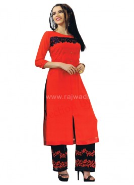 Orange Casual Resham Work Kurti