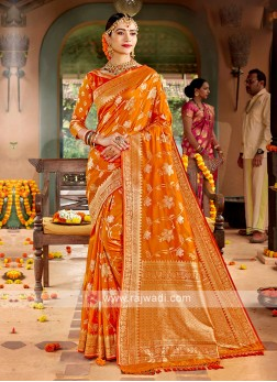 Orange Color Banarasi Silk Saree