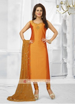 Orange color churidar suit