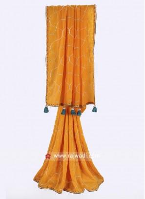 Orange color crepe silk saree