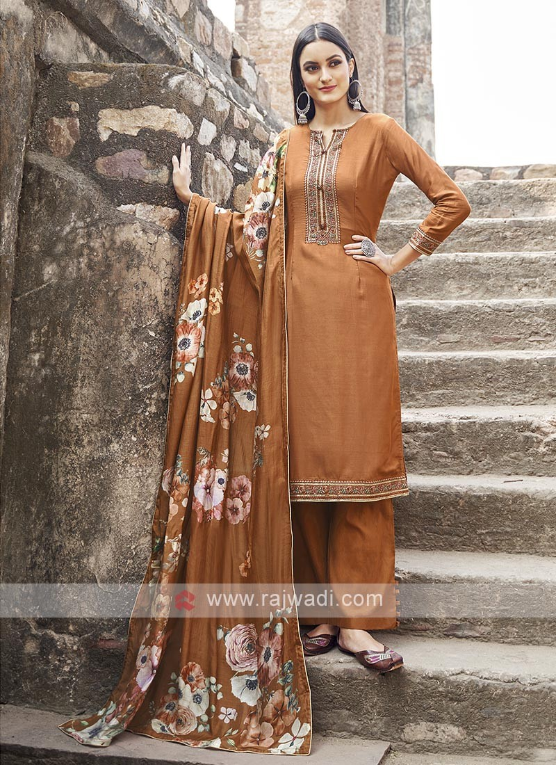 Orange Color Embroidery Suit