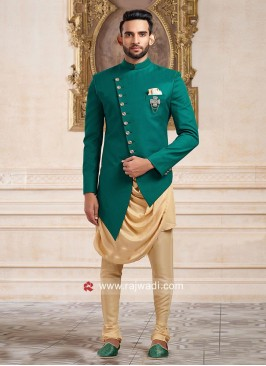 Stylish Green Color Indo Western With Side Buttons