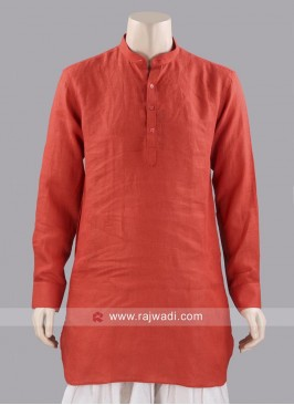 Dark Orange Color Linen Kurta