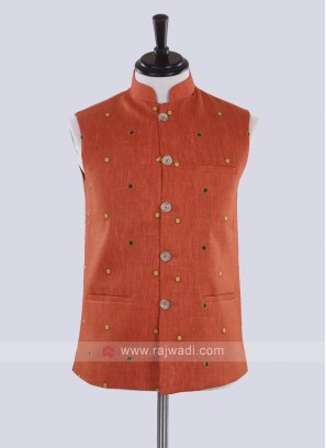 Orange color Nehru jacket