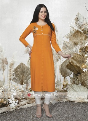 Orange Color Party Wear Kurti