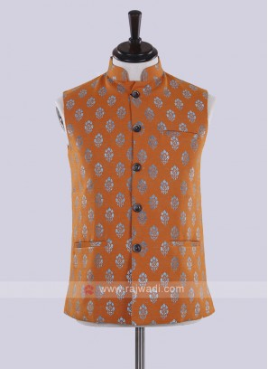 Orange color printed nehru jacket