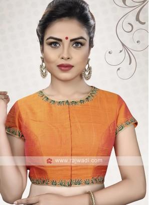 Orange Color Raw Silk Ready Choli