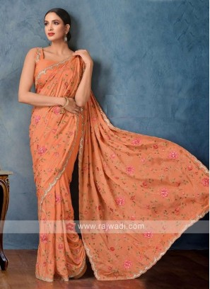 orange color satin chiffon saree