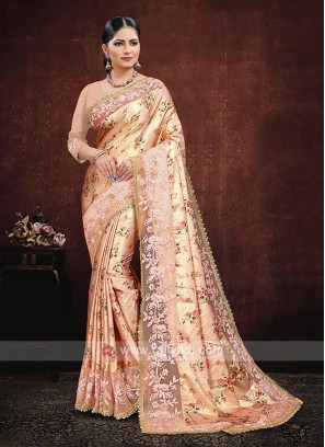 Orange Color Satin Silk Saree