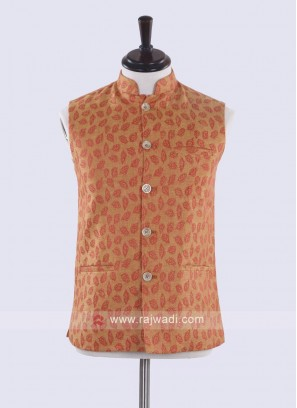Orange color self designed nehru jacket