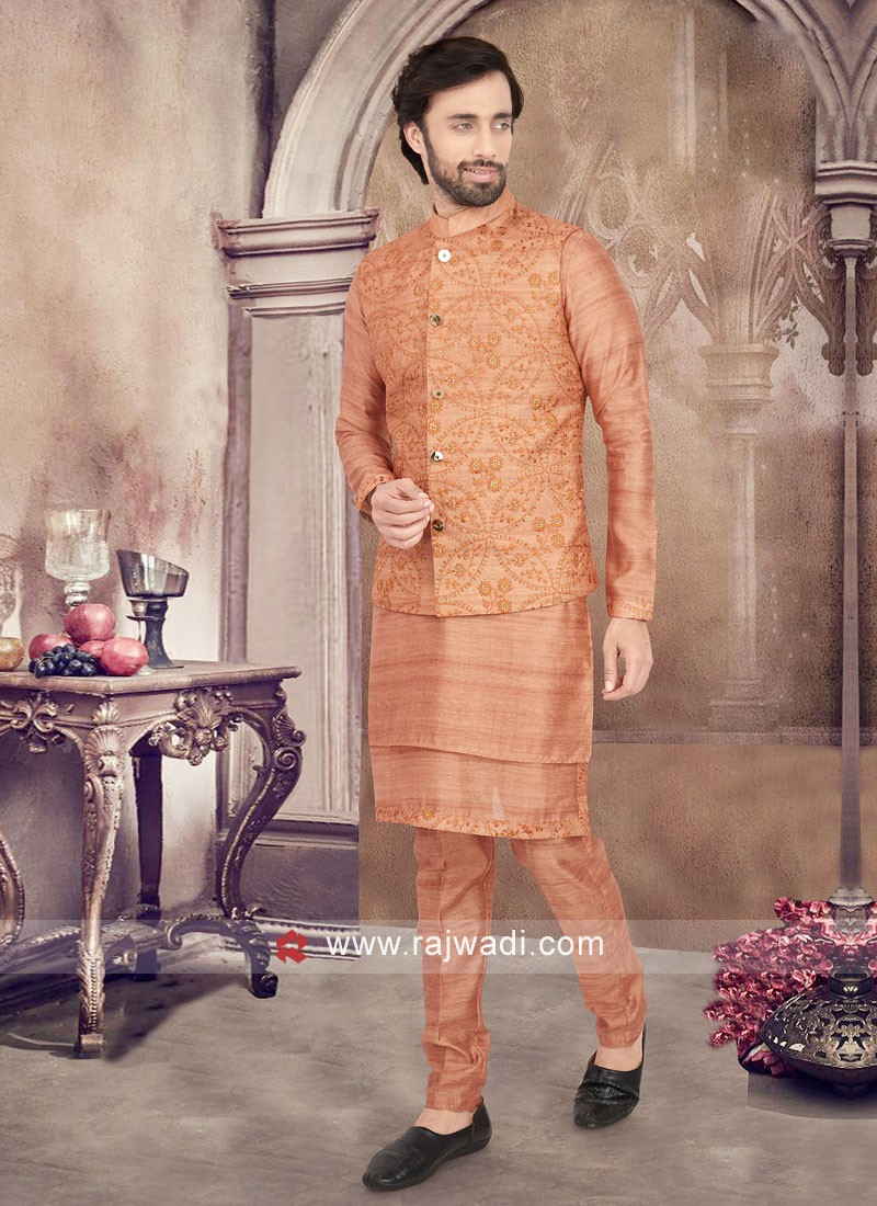 Orange Color Thread Work Nehru Jacket Suit