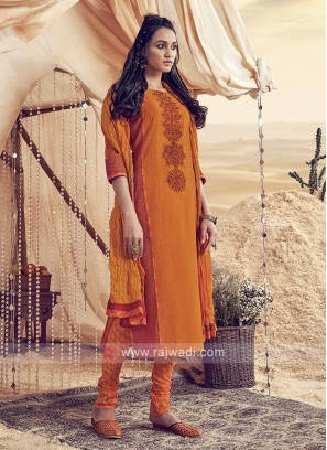 Shagufta Orange Cotton Churidar Salwar Suit