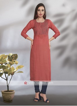 Orange Cotton Rayon Kurti