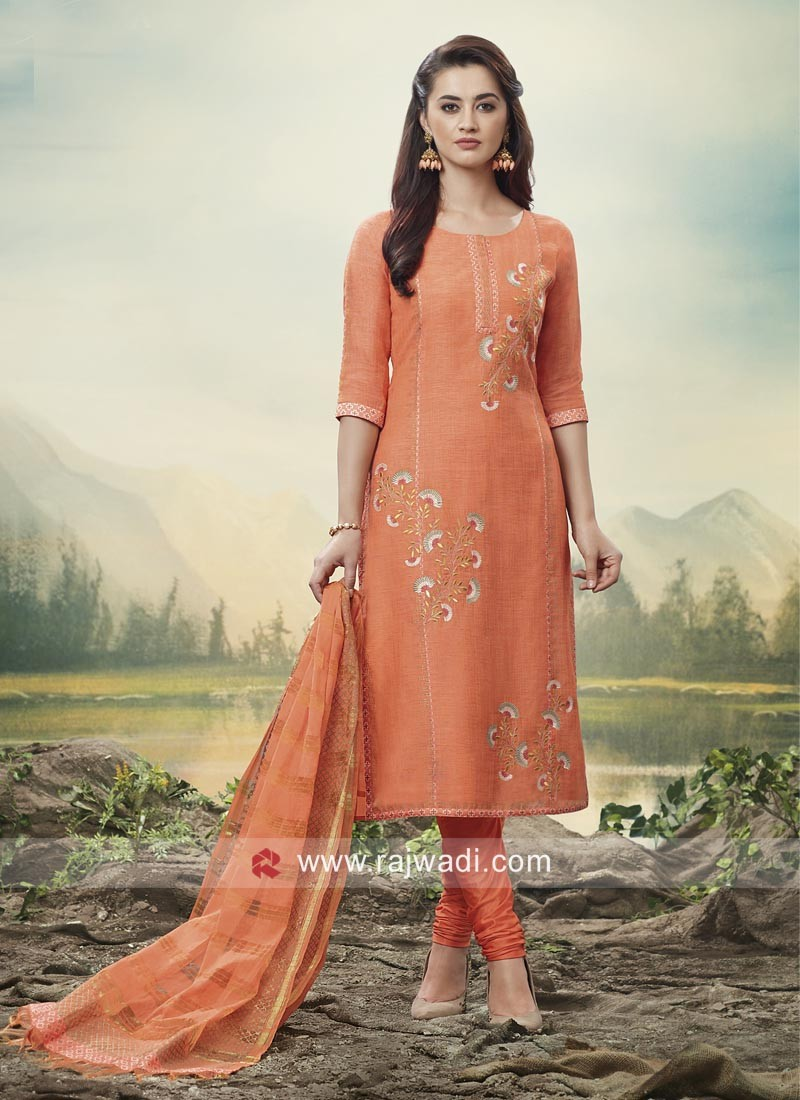 Orange Cotton Silk Churidar Suit