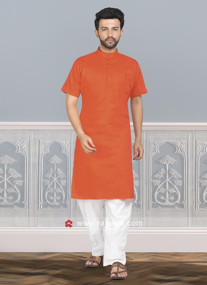 Orange Cotton Silk Kurta Pajama