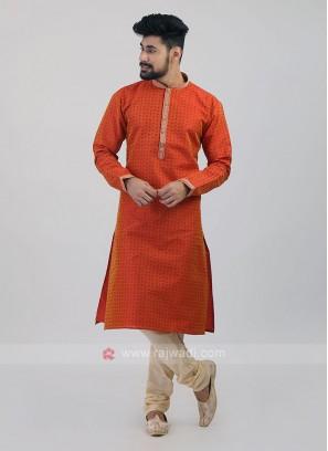 Orange Cotton Silk Kurta Pajama