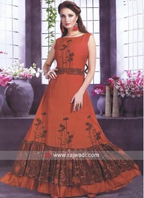 Orange and Brown Designer Long Kurti