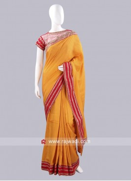 Orange Embroidered Choli Saree